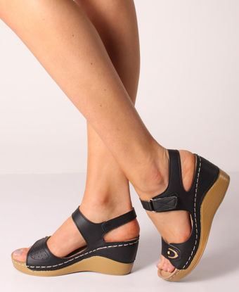 Picture of Comfy Wedge Sandals - Black