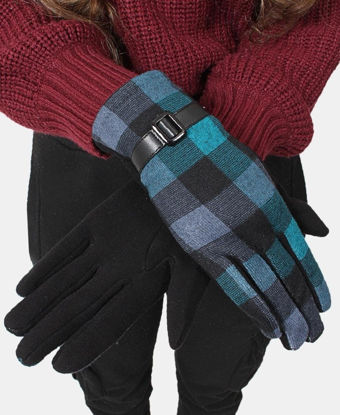 Picture of Ladies Teal Ladies Check Gloves - Accessories