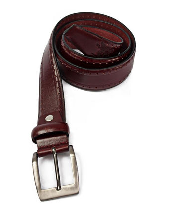 Picture of Leather Brogue Belt - Burgundy