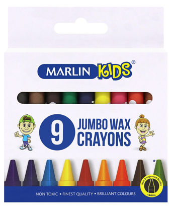 Picture of Marlin 9 Pack Jumbo Wax Crayons  - Multi