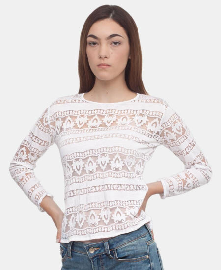 Picture of Mesh Long Sleeve Top - White