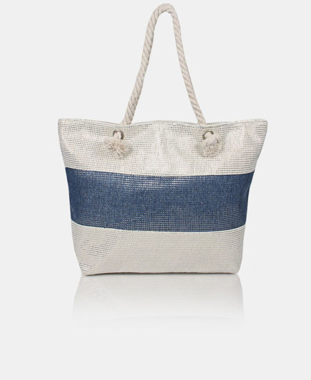 Picture of Shimmer Two Tone Shopper Bag - Navy