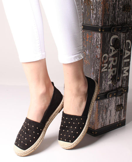 Picture of Studded Front Espadrille Pumps - Black