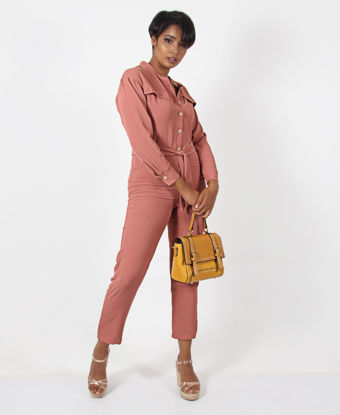 Picture of Button Up Long Sleeve Jumpsuit - Mink