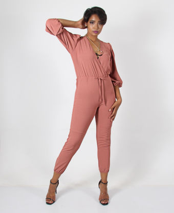 Picture of Long Sleeve Cross Over Jumpsuit - Coral